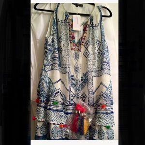 Hemant & Nandita batik blue & white dress SzM NWT